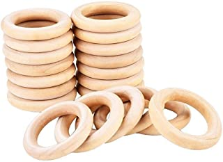 Wood Rings Wooden Rings for Craft Jewelry Making, 55 mm Pack of 20