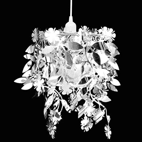 Luckyfu Lampadario da Soffitto Paralume Foglie Pailette 21,5 x 30 cm Argento.lampadari moderni lampadari rustici lampadari moderni soggiorno lampadari cristallo lampadari soffitto