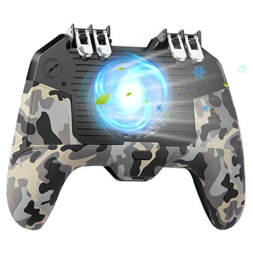 [The Latest Version] Mobile Game Controller 4 Trigger with 4000mAh Power Bank Cooling Fan for PUBG/Call of Duty/Fotnite [6 Finger Operation] L1R1 L2R2 Gamepad Trigger for 4.7-6.5' iOS Android Phone