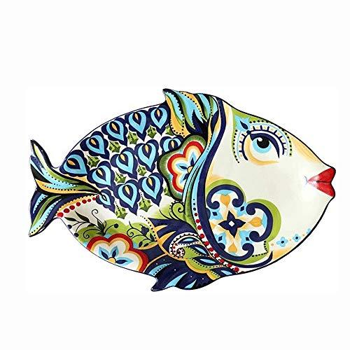 Fruitschalen, Qingci Europese en Amerikaanse Fish-vormige plaat Grote fruitschaal, Kleur Master handgeschilderde Europese huishoudens tafelgerei Plate