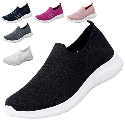 MAOGO Damen Sneaker Atmungsaktiv Laufschuhe Slip On Schuhe Freizeitschuhe Outdoor Sportschuhe (Schwarz, Numeric_37)