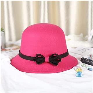 MZHHAOAN Ladies hat,Winter Retro Basin Cap,Bow top hat,Autumn and Winter Big hat Cap