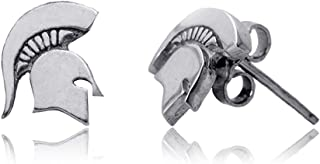 Michigan State University Post Earrings, Spartan Logo - Sterling Silver Jewelry by Dayna Designs, Officially Licensed NCAA Gift. 10mm Small for Women/Girls