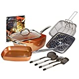 Copper Chef 10 Piece Cookware Set - 9.5 Inches Deep Square Pan & Frying Pan, Includes Fry Basket,...