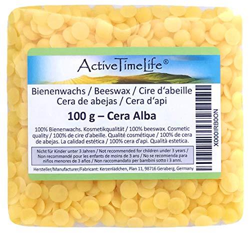 Pastiglie biologiche gialle in 100% pura cera d'api, in confezione da 100 g. ideali per cosmetici, creme, pomate, saponi
