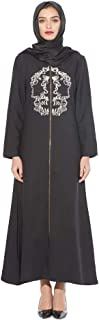 BaronHong Party Luxury Embroidery Full Zip Abaya For Women