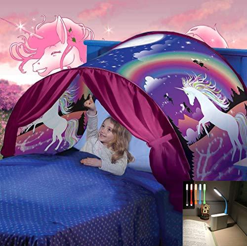 Nifogo Carpa Tiendas de Ensueño - Tent Kids, Magical World Carpa Impermeable Ensueño Wizard Children Play Cama Tienda Campaña (a- Unicornio)