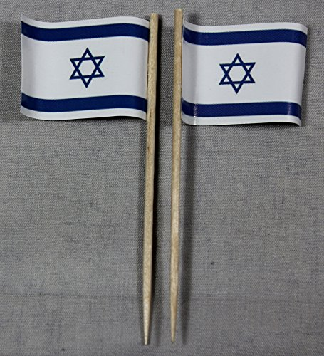 Buddel-Bini Party-Picker Flagge Israel Papierfähnchen in Profiqualität 50 Stück Beutel Offsetdruck Riesenauswahl aus eigener Herstellung