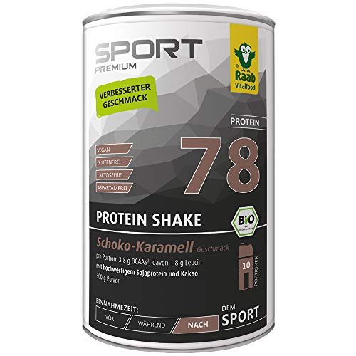 Raab Vitalfood Bio Protein Shake Schoko-Karamell, Protein-Pulver, vegan, pflanzlich, Chocolate, Eiweiß-Pulver mit Kakao, glutenfrei, 300 g