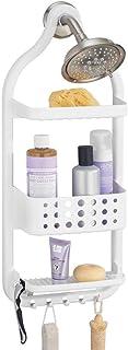 mDesign serviteur de douche à suspendre sans perçage – étagère de douche pratique en plastique – 3 paniers de douche avec ...