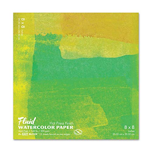 Fluid Watercolor Paper 850088 140LB Hot Press 8 x 8 Block, 15 Sheets