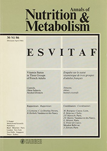 ESVITAF: Vitamin Status in Three Groups of French Adults: Control, Obese Subjects, Alcohol Drinkers. Statut vitaminique dans trois groupes d'adultes ... and Metabolism 1986, Vol. 30, Suppl. 1