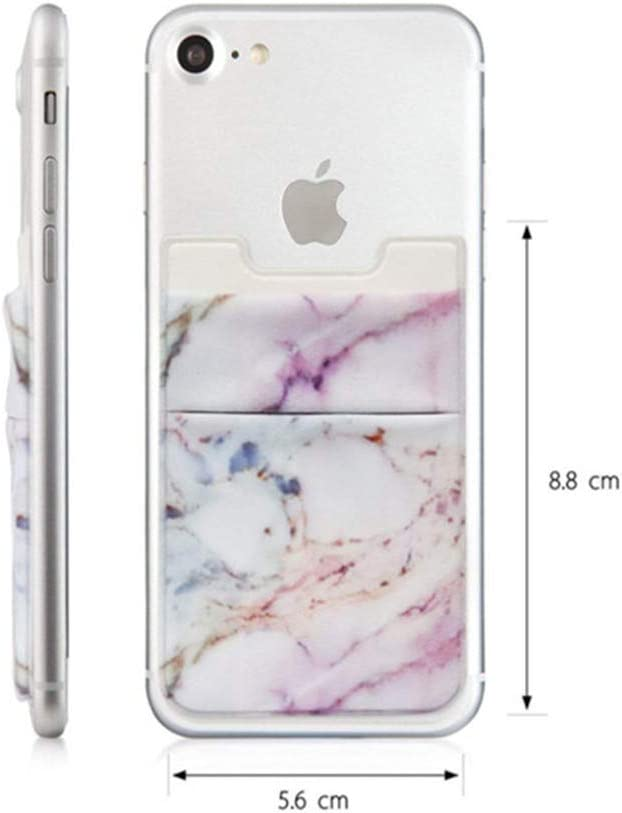 Marble Adhesive Phone Pocket,Cell Phone Stick On Card Wallet Sleeve,Credit Cards/ID Card Holder(Double Secure) 3M Sticker for Back of iPhone,Android and All Smartphones 3 Pack (Pink+Gray+Blue)