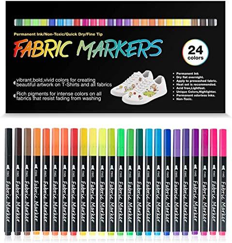 Fabric Pens Permanent No Bleed DAPAWIN Shirt Markers Fabric Markers for T Shirts Markers for Shoes Fabric Permanent Markers Fabric Paint Markers for Clothes Permanent Markers for Fabric