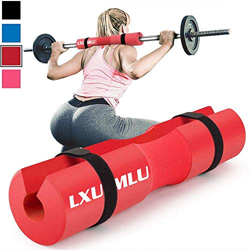 Squat Pad Barbell Pad for Squats, Lunges, and Hip Thrusts - Foam Sponge Pad - Provides Relief to Neck and Shoulders While Training (Red)