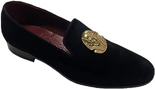 Mocassini Slippers Bijou en velours avec accessoire en argent brossé or
