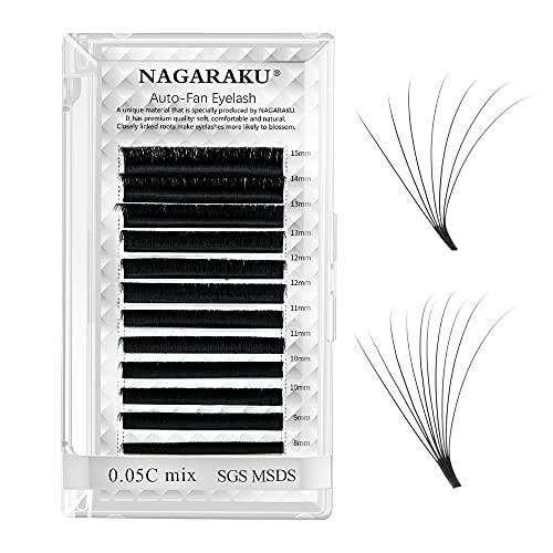NAGARAKU Extension Ciglia Volume 3D-20 Ciglia Finte a Fentaglio Facile Risparmia Tempo Naturale Nero Easy Fan Eyelash Extension Ciglia Professionali(005 C 8-15mm)