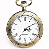 IOMLOP CF1017 - Reloj de bolsillo de cuarzo con pantalla analógica y colgante con collar y cadena