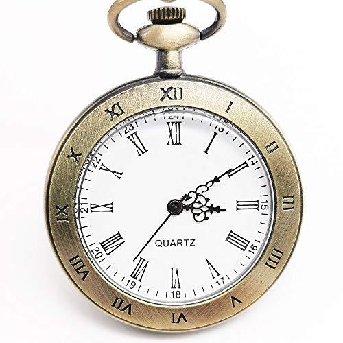 YHWW Taschenuhr Top Marke Bronze Open Face Quarz Taschenuhr Analog Display mit Unisex Halskette Kette Uhren für Männer Frauen