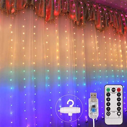 HEITIGN 1,5 * 2 M 210 LED Regenbogen Lichtvorhang Fee Licht USB Lichterketten Fenster Mit 8 Modi Fernbedienung Wasserdichte AußEnleuchte Mit Haken Vorhang Licht Für Hochzeit Garten Dekoration