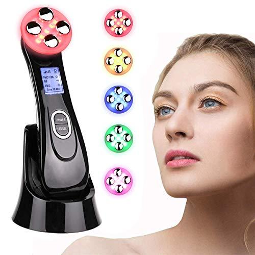 Ultraschallgerät Schönheit Gerät,Massagegerät Maschine Mitesser Akne Entferne Anti-Falten/Aging,ION Photon Hautpflege für Körper und Gesicht 5in1 Kosmetischer Ultraschall,6 Modi LED Toninggeräte
