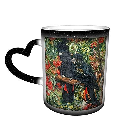 maichengxuan Taza de café unisex de viaje con cacatúa, personalizada, sensible al calor, color cambiante, taza de té de leche y tazas de café mágicas