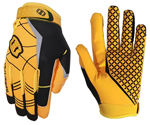 Seibertron Pro 3.0 Elite Ultra-Stick Sports Receiver Glove Football Gloves Youth and Adult (Yellow, S)