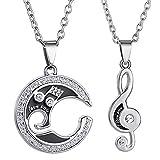 2 unids/set collar de pareja para amante novia regalo signo musical colgante collar collar de San Valentín para mujeres hombres