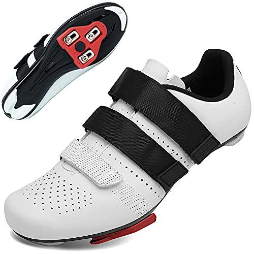 Scarpe da Ciclismo Strada Scarpe da Bici da Strada da Uomo con Tacchetti Tre Chiusure in Velcro Tacchetti per Pedali Delta Scarpe da Bici da Strada per Interni (bianca1, Numeric_40)