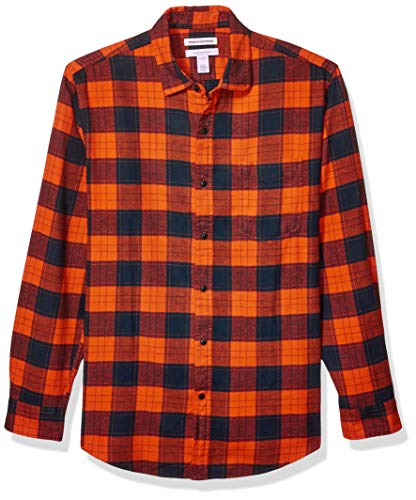 Amazon Essentials Men's Regular-Fit Long-Sleeve Plaid Flannel Shirt, Orange/Navy, X-Large