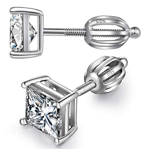 jiamiaoi Brilliant Square Diamond Earrings for Women Sterling Silver Cubic Zirconia Earrings with Secure Screw Back Earrings Diamond Studs Nickel-Free Hypoallergenic Earrings Studs Silver (4MM)