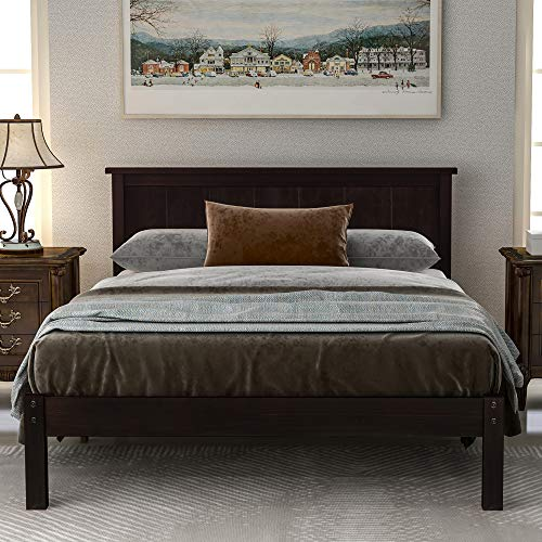 P PURLOVE Wood Platform Bed with Headboard,Queen Size Platform Bed, Wood Slat Support, No Box Spring Needed