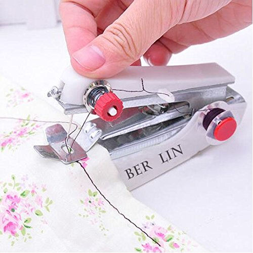 LIVDAT Portable Mini Manual Sewing Machine Sewing Professional Handheld Tool for Fabric, Clothing, Kids Cloth Home Travel Use