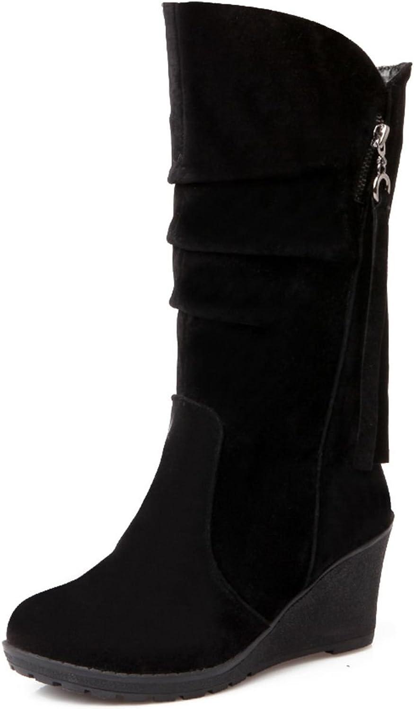 DoraTasia Women's Suede Nubuck Pull on Round Toe Non Slip Wedge Heel Boots