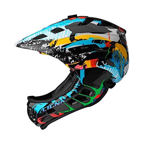 MOKFIRE Kids Full Face Helmet - Kids Bike Helmet Detachable Chin Guard Rechargeable Light Sports Camera Mount Bike Helmet Boys Girls 53-58cm