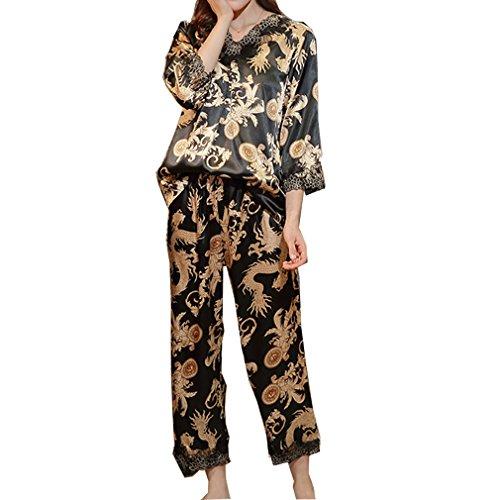 BOYANN Fénix Pijamas Oriental Mujer Primavera Otoño de Satén Ropa de Dormir Negro