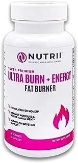 Nutrii #1 Thermogenic Weight Loss + Energy Booster, Appetite Suppressant, Keto Friendly, Green Tea, Caffeine, CLA, Garcinia, Raspberry Ketones, 60 Vegan Capsules