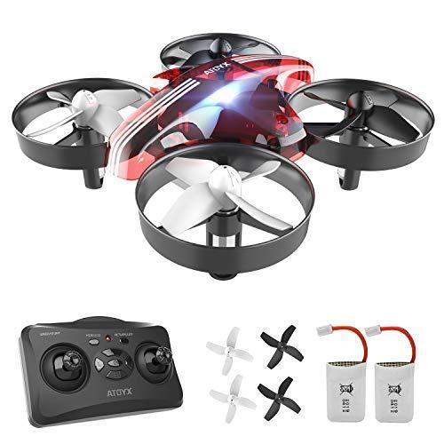 ATOYX Mini Drone, RC Drone 2.4G 4 Canales 6-Axis Gyro, Quadcopter con Modo sin Cabeza, Altitud Hold, Alarma de Batería y 3 Modos de Velocidad, Regalos y Juguetes, AT-66B (Rojo)