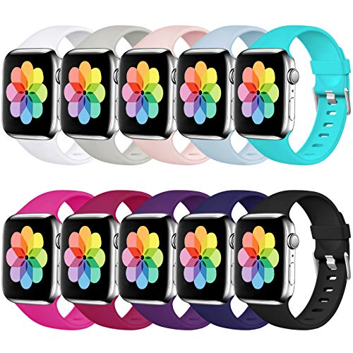 Haveda Sport Compatible for Apple Watch Band 40mm Series 6 Series 5 4, iWatch Bands 38mm Womens for Apple Watch SE, iwatch Series 3 2 1 Men, Waterproof Band for Apple Watch 6, 10Pack 38mm/40mm S/M