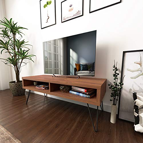 roomfitters Mid Century Media Console/TV Stand, Two Open Storage, Walnut
