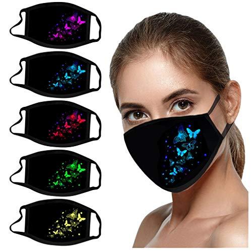 riou 5 Stück Damen Mund und Nasenschutz mit Motiv Schmetterling Baumwolle Stoff Waschbar Atmungsaktiv Staubdichte Halstuch Bandana