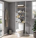 ALLZONE Bathroom Organizer, Over The Toilet Storage, 4-Tier Adjustable Shelves for Small Rooms, Saver Space Rack, 92 to 116 Inch Tall Narrow Cabinet, White