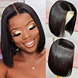 Straight Lace Front Bob Wigs Human Hair 4x4 T Part Lace Closure Short Bob Wigs for Black Women 150% Density Brazilian Virgin Human Hair Wigs Pre Plucked with Baby Hair (8inch)