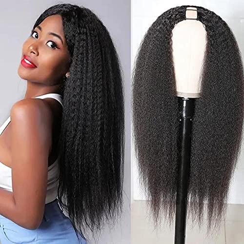 UNice Hair U Part Human Hair Wigs Afro Kinky Straight Middle Part Wig for Black Women, Brazilian Virgin Hair Glueless Full Head Clips in Half Wig 150% Density 18inch