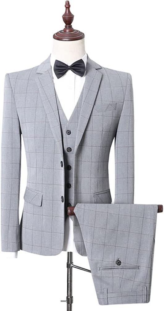 ZYKBB (Suit + Vest + Pants) Men Business Self-cultivation Professional Formal Suit Bridegroom's Wedding Gown/Mens Suit (Color : Gray, Size : 2XL 68-73kg)