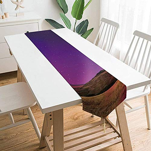 MODORSAN Fashion Sky Nature Aurora Atmosphere Horizon Night Table Runners, House Kitchen Mesa de Cena Fiestas Interiores al Aire Libre Mesa de reunión Familiar