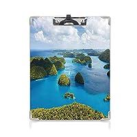 クリップボードメモ型サイズ低プロファイルクリップ 島 学生用かわいい画集 伝統的な観光緑豊かな風光明媚な海の絵グリーンブルーからパラオ諸島の眺め