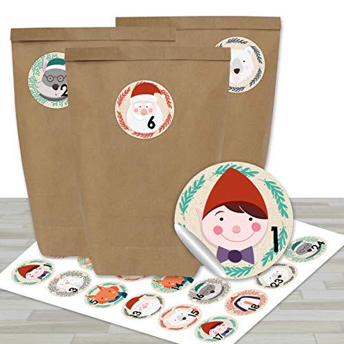 DIY Adventskalender zum Befüllen - mit 24 braunen Papiertüten und 24 Tier- Aufklebern - zum Selbermachen und Basteln - Mini Set Nr 27 - Weihnachten 2019 für Kinder