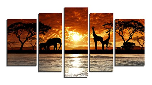 Yin Art 5-Panel Split Canvas Print-African Sunset Landscape with Wild Animals Giraffes Elephants-Framed Wall Art Ready to Hang