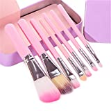 Fani Makeup Brushes 7 Pieces Travel Makeup Brushes Set with Box Professional Foundation Cosmetic Brushes Eyeshadw Brush Lip Brush for Powder Liquid Cream Blending